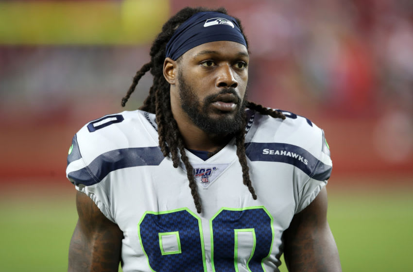 SANTA CLARA, CA - NOVEMBER 11: Jadeveon Clowney #90 of the Seattle Seahawks looks on before the game against the San Francisco 49ers at Levi's Stadium on November 11, 2019 in Santa Clara, California. The Seahawks defeated the 49ers 27-24. (Photo by Rob Leiter/Getty Images)