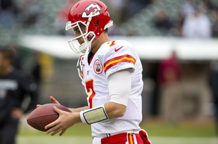 OAKLAND, CA - DECEMBER 16: Quarterback Matt Cassel #7 of the Kansas City Chiefs warms up before the game against the Oakland Raiders at O.co Coliseum on December 16, 2012 in Oakland, California. The Oakland Raiders defeated the Kansas City Chiefs 15-0. Photo by Jason O. Watson/Getty Images)