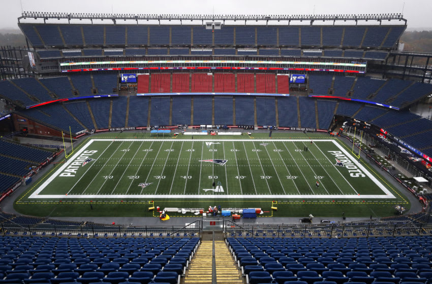 FOXBOROUGH, MASSACHUSETTS - OCTOBER 27: A General view of Gillette Stadium before the game between the New England Patriots and the Cleveland Browns at Gillette Stadium on October 27, 2019 in Foxborough, Massachusetts. (Photo by Omar Rawlings/Getty Images)