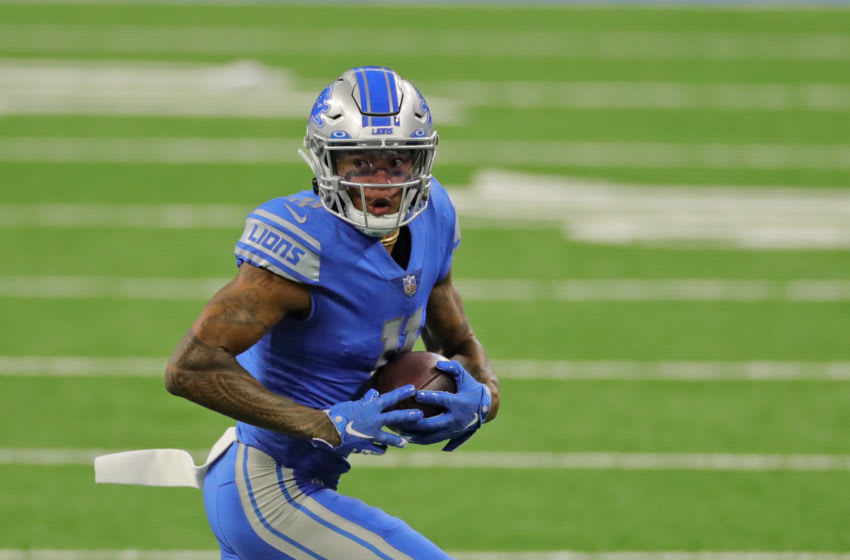 DETROIT, MI - SEPTEMBER 13: Marvin Jones #11 of the Detroit Lions catches a first down pass during first quarter of the game against the Chicago Bears at Ford Field on September 13, 2020 in Detroit, Michigan. Chicago defeated Detroit 27-23. (Photo by Leon Halip/Getty Images)