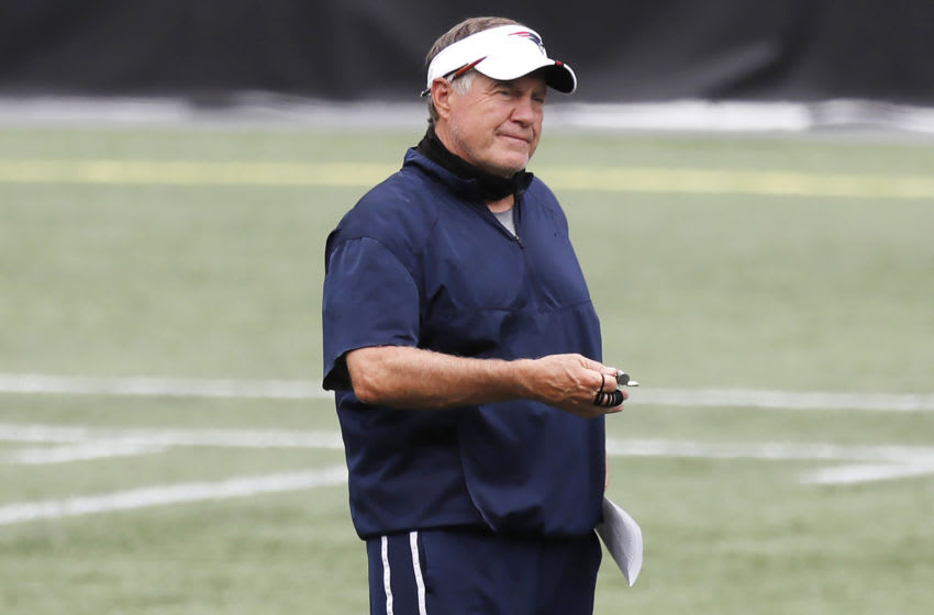 Head coach Bill Belichick of the New England Patriots looks on during training camp at Gillette Stadium on August 28, 2020 in Foxborough, Massachusetts. (Photo by Michael Dwyer-Pool/Getty Images)