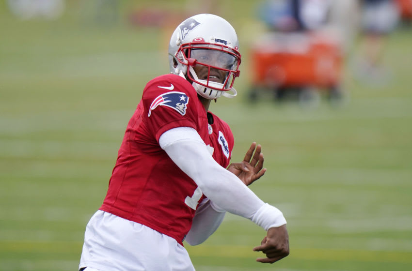 Cam Newton #1 of the New England Patriots throws during training camp at Gillette Stadium on August 27, 2020 in Foxborough, Massachusetts. (Photo by Steven Senne-Pool/Getty Images)