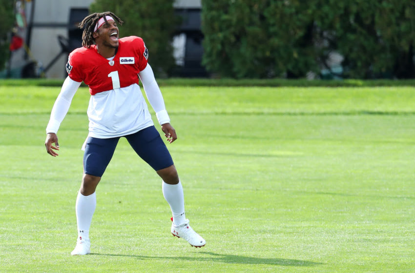 Cam Newton #1 warms up during New England Patriots Training Camp at Gillette Stadium on September 01, 2020 in Foxborough, Massachusetts. (Photo by Maddie Meyer/Getty Images)