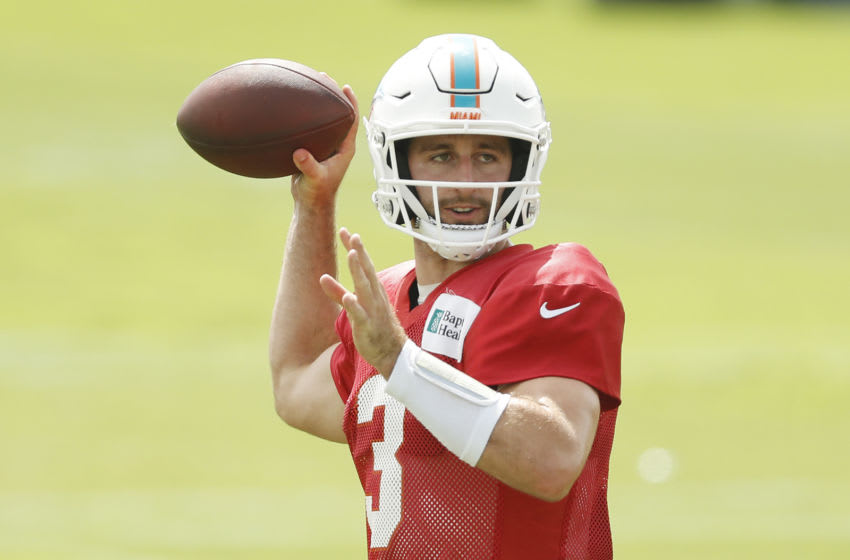 DAVIE, FLORIDA - SEPTEMBER 04: Josh Rosen #3 of the Miami Dolphins throws a pass during training camp at Baptist Health Training Facility at Nova Southern University on September 04, 2020 in Davie, Florida. (Photo by Michael Reaves/Getty Images)
