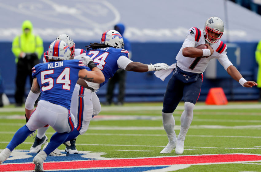 ORCHARD PARK, NEW YORK - NOVEMBER 01: Cam Newton #1 of the New England Patriots scrambles during a game against the Buffalo Bills at Bills Stadium on November 01, 2020 in Orchard Park, New York. (Photo by Timothy T Ludwig/Getty Images)
