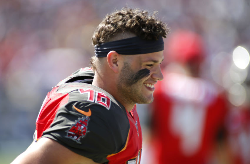 LOS ANGELES, CALIFORNIA - SEPTEMBER 29: Linebacker Jack Cichy #48 of the Tampa Bay Buccaneers looks on during a game against the Los Angeles Rams at Los Angeles Memorial Coliseum on September 29, 2019 in Los Angeles, California. (Photo by Katharine Lotze/Getty Images)
