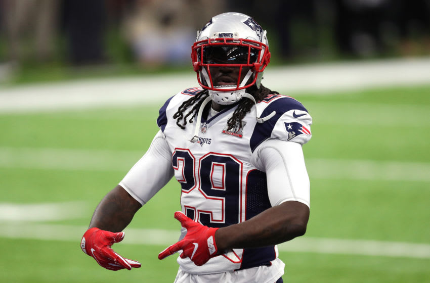 HOUSTON, TX - FEBRUARY 05: LeGarrette Blount #29 of the New England Patriots warms up prior to Super Bowl 51 against the Atlanta Falcons at NRG Stadium on February 5, 2017 in Houston, Texas. (Photo by Patrick Smith/Getty Images)