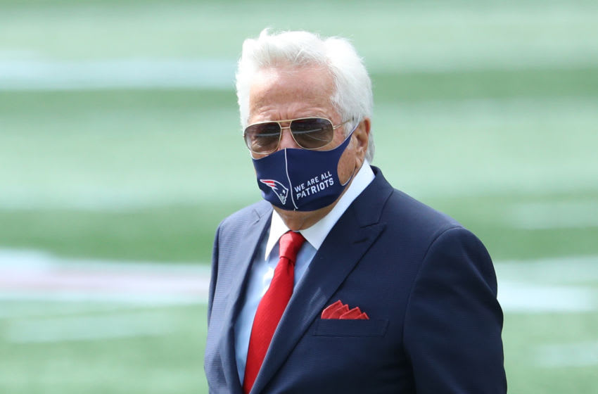 FOXBOROUGH, MASSACHUSETTS - SEPTEMBER 13: Robert Kraft, Chairman and CEO of the New England Patriots, looks on before the game against the Miami Dolphins at Gillette Stadium on September 13, 2020 in Foxborough, Massachusetts. (Photo by Maddie Meyer/Getty Images)