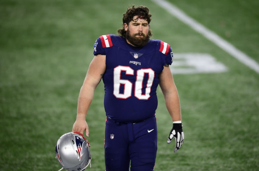 FOXBOROUGH, MASSACHUSETTS - DECEMBER 28: David Andrews #60 of the New England Patriots (Photo by Maddie Malhotra/Getty Images)