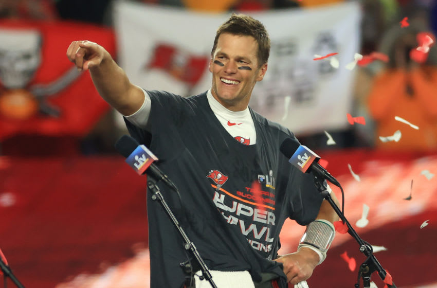 TAMPA, FLORIDA - FEBRUARY 07: Tom Brady #12 of the Tampa Bay Buccaneers signals after winning Super Bowl LV at Raymond James Stadium on February 07, 2021 in Tampa, Florida. (Photo by Mike Ehrmann/Getty Images)
