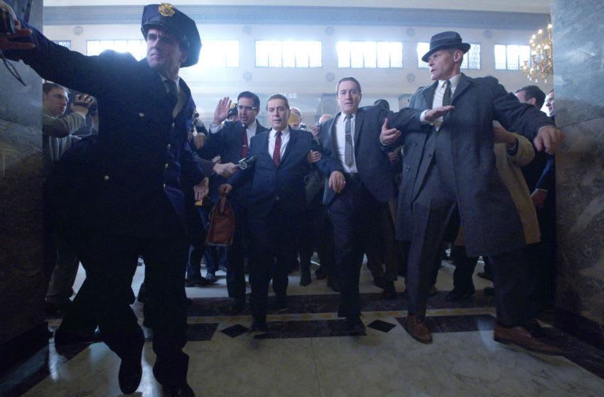 THE IRISHMAN (2019) Ray Ramano (Bill Bufalino ) Al Pacino (Jimmy Hoffa) and Robert De Niro (Frank Sheeran) - Credit: Netflix