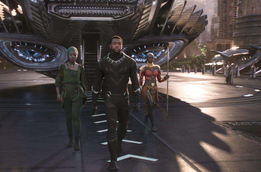 Marvel Studios' BLACK PANTHER..L to R: Nakia (Lupita Nyong'o), T'Challa/Black Panther (Chadwick Boseman) and Okoye (Danai Gurira) ..Ph: Film Frame..©Marvel Studios 2018