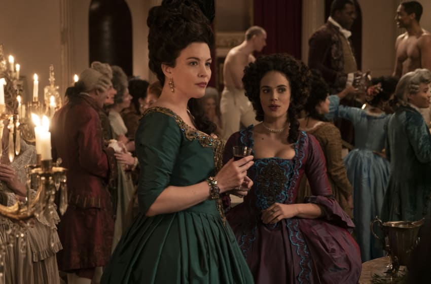 HARLOTS -- Set against the backdrop of 18th century Georgian London, Harlots continues to follow the fortunes of the Wells family. Set a year after the dramatic events of Season 2, Margaret (Samantha Morton) has been sent to America in chains and Lydia Quigley (Lesley Manville) is vanquished and in Bedlam. It seems that the Wells girls can finally free themselves of their motherÕs feud, helped by allies such as Lady Fitz (Liv Tyler). But Charlotte Wells (Jessica Brown-Findlay) soon learns that running a lucrative brothel brings enemies as well as friends, including new pimp in town Isaac Pincher (Alfie Allen). Meanwhile Lydia still finds a way to bite, even in her darkest hour. Lady Isabella Fitzwilliam (Liv Tyler) and Charlotte Wells (Jessica Brown Findlay), shown. (Photo by: Liam Daniel/Hulu)