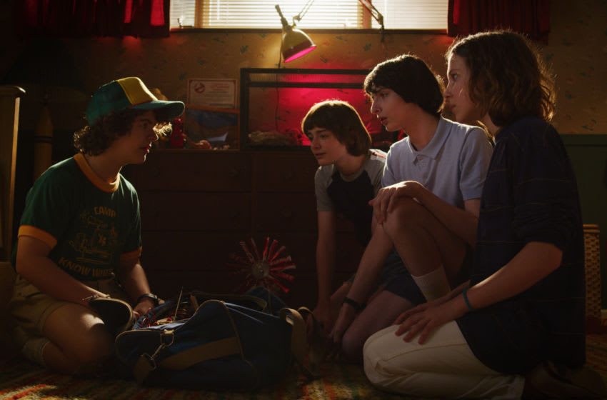 Noah Schnapp, Caleb McLaughlin, Millie Bobby Brown, Finn Wolfhard, Sadie Sink, Charlie Heaton, Natalia Dyer - Stranger Things (2019). Photo Credit: Netflix
