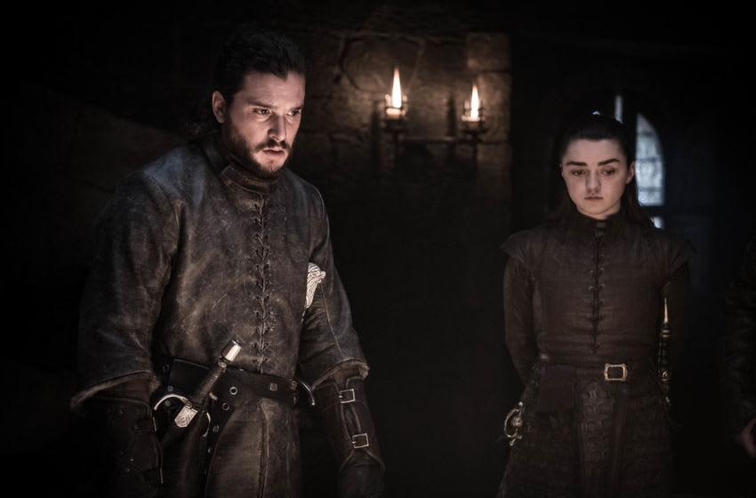 (L to R) Kit Harington as Jon Snow and Maisie Williams as Arya Stark – Photo: Helen Sloan/HBO