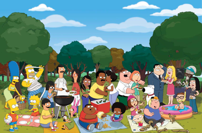 ANIMATION DOMINATION: Join (L-R) THE SIMPSONS, BOB's BURGERS, THE CLEVELAND SHOW, FAMILY GUY and AMERICAN DAD on FOX Sundays during ANIMATION DOMINATION on FOX. THE SIMPSONS, BOB'S BURGERS, THE CLEVELAND SHOW, FAMILY GUY, AMERICAN DAD ™ and © 2010 TTCFFC ALL RIGHTS RESERVED.