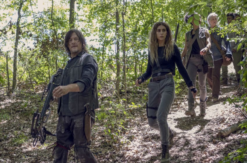Norman Reedus as Daryl Dixon, Nadia Hilker as Magna, Lauren Ridloff as Connie, Melissa McBride as Carol, Angel Theory as Kelly - The Walking Dead _ Season 10, Episode 8 - Photo Credit: Gene Page/AM8