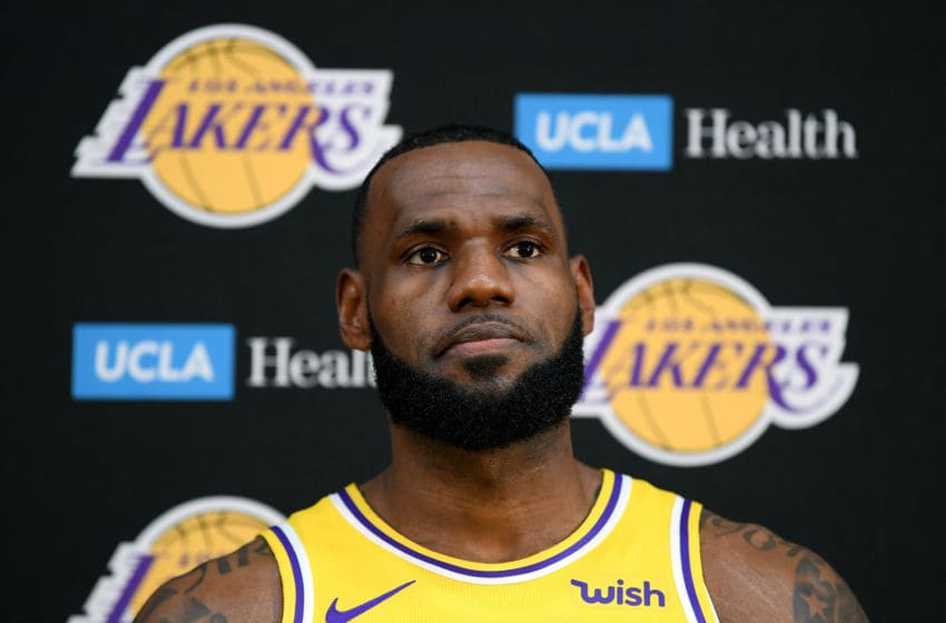 EL SEGUNDO, CA - SEPTEMBER 24: LeBron James of the Los Angeles Lakers reacts as he speaks to the media during the Los Angeles Lakers Media Day at the UCLA Health Training Center on September 24, 2018 in El Segundo, California. (Photo by Harry How/Getty Images)