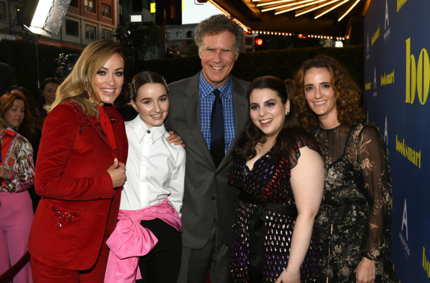 LOS ANGELES, CALIFORNIA - MAY 13: (L-R) Olivia Wilde, Kaitlyn Dever, Will Ferrell, Beanie Feldstein and Jessica Elbaum attend the LA special screening of Annapurna Pictures'