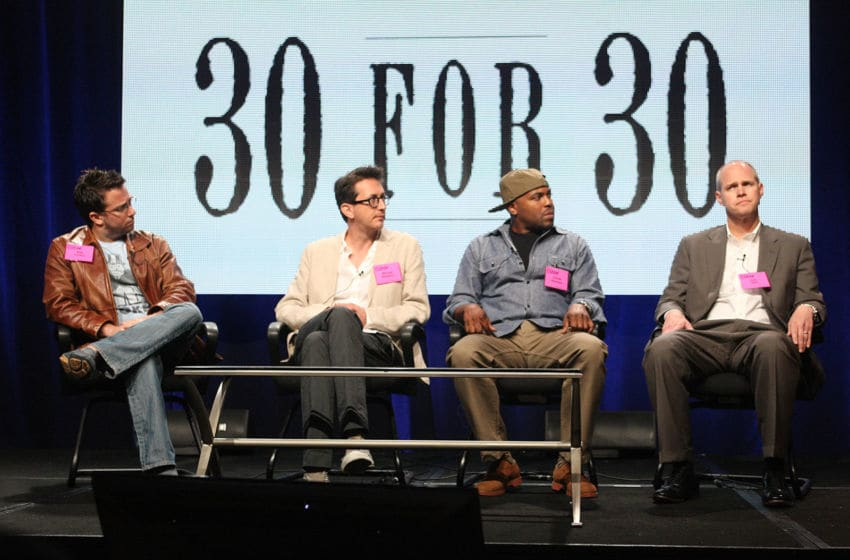 BEVERLY HILLS, CA - AUGUST 03: (L-R) Directors Billy Corben, Michael Bonfiglio and Coodie Simmons and Executive Producer John Dahl speak at the '30 for 30 Volume II' discussion panel during the ESPN portion of the 2012 Summer Television Critics Association tour at the Beverly Hilton Hotel on August 3, 2012 in Los Angeles, California. (Photo by Frederick M. Brown/Getty Images)