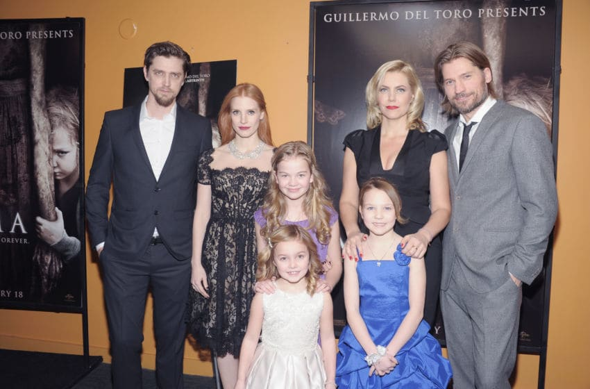 NEW YORK, NY - JANUARY 07: (L-R) Writer/Director Andy Muschietti, actresses Jessica Chastain, Megan Charpentier, Morgan McGarry (in front) and Isabelle Nelisse, producer Barbara Muschietti and actor Nikolaj Coster-Waldau attend the
