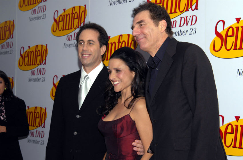 NEW YORK - NOVEMBER 17: Comedian Jerry Seinfeld, actress Julia Louise-Dreyfus, and actor Michael Richards attend the DVD Release Party for the first three seasons of