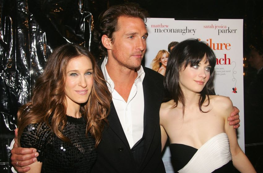 NEW YORK - MARCH 08: (from left to right) Actors Sarah Jessica Parker, Matthew McConaughey and Zooey Deschanel attend the premiere of