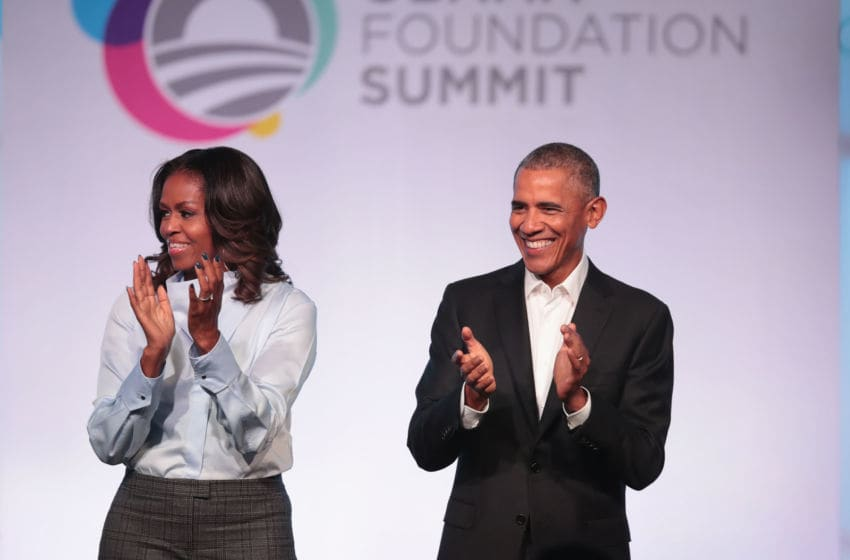 CHICAGO, IL - OCTOBER 31: Former first Lady Michelle and former president Barack Obama are introduced at the inaugural Obama Foundation Summit on October 31, 2017 in Chicago, Illinois. The two-day event will feature a mix of community leaders politicians and artists exploring creative solutions to common problems, and experiencing art, technology, and music from around the world. (Photo by Scott Olson/Getty Images)