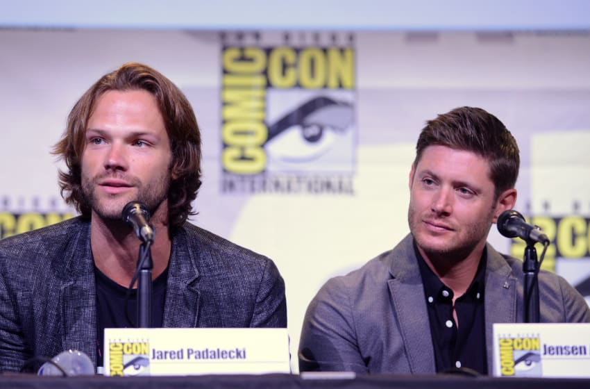 SAN DIEGO, CA - JULY 24: Actors Jared Padalecki (L) and Jensen Ackles attend the 'Supernatural' Special Video Presentation And Q