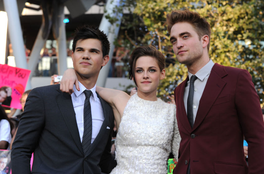 LOS ANGELES, CA - JUNE 24: Actors Taylor Lautner, Kristen Stewart and Robert Pattinson arrive at the premiere of Summit Entertainment's 'The Twilight Saga: Eclipse' during the 2010 Los Angeles Film Festival at Nokia Theatre L.A. Live on June 24, 2010 in Los Angeles, California. (Photo by Kevin Winter/Getty Images)