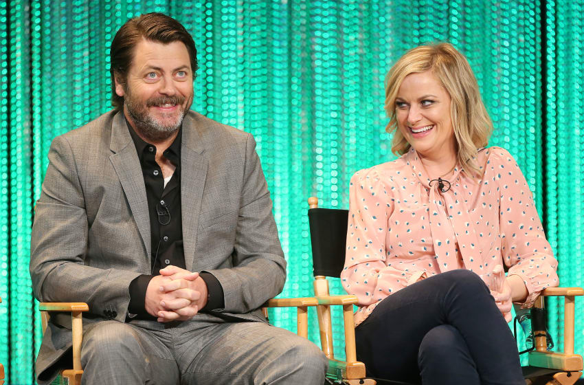 Nick Offerman and Amy Poehler speak during PaleyFest 2014 Honoring 'Parks and Recreation' (Photo by Frederick M. Brown/Getty Images)