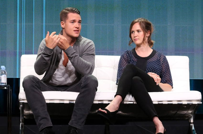 BEVERLY HILLS, CA - JULY 31: Actors Alexander Dreymon (L) and Emily Cox speak onstage during the 'The Last Kingdom' panel discussion at the BBC America portion of the 2015 Summer TCA Tour at The Beverly Hilton Hotel on July 31, 2015 in Beverly Hills, California. (Photo by Frederick M. Brown/Getty Images)
