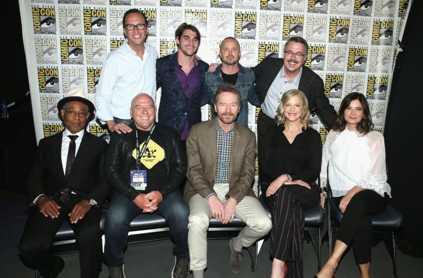 SAN DIEGO, CA - JULY 19: (Top row L-R) AMC's Charlie Collier, RJ Mitte, Aaron Paul and Vince Gilligan, (Bottom row L-R) Giancarlo Esposito, Dean Norris, Bryan Cranston, Anna Gunn, and Betsy Brandt attend the