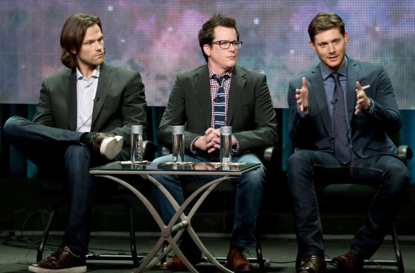 BEVERLY HILLS, CA - JULY 18: (L-R) Actor Jared Padalecki, producer Jeremy Carver, and actor Jensen Ackles speak onstage at the