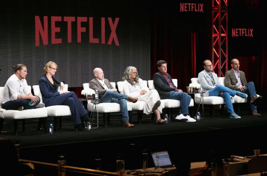 BEVERLY HILLS, CA - JULY 28: (L-R) Showrunners Gaz Alazraki, Melissa Rosenberg, Steven DeKnight, Marta Kauffman, Michael Showalter, Raphael Bob-Waksberg and Glenn Kessler speak onstage during the Netflix showrunners panel discussion at the Netflix portion of the 2015 Summer TCA Tour at The Beverly Hilton Hotel on July 28, 2015 in Beverly Hills, California. (Photo by Frederick M. Brown/Getty Images)