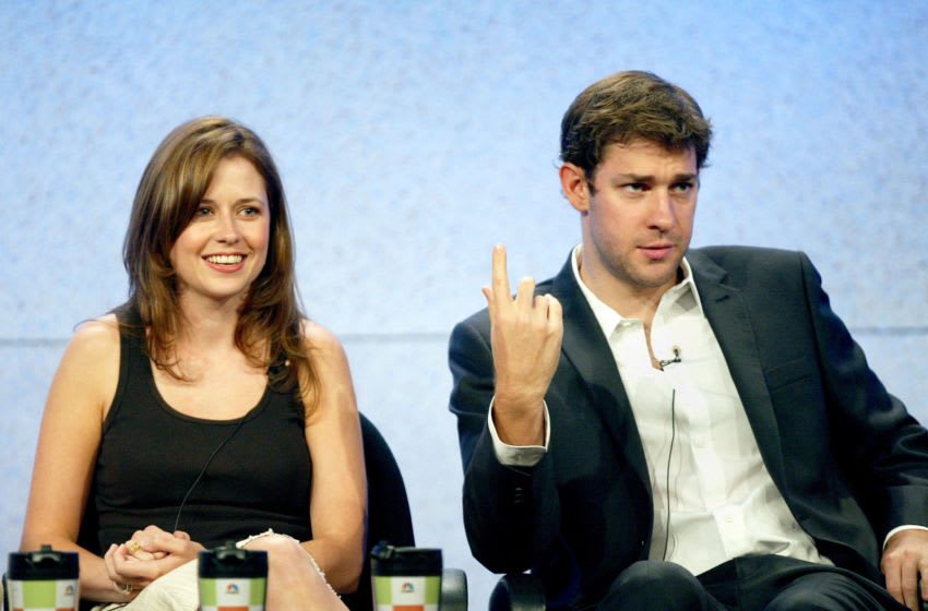 BEVERLY HILLS, CA - JULY 24: Actress Jenna Fischer (L) and actor John Krasinski attend the panel discussion for
