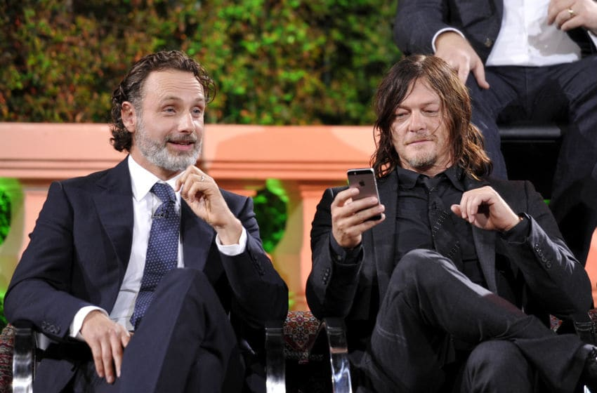 HOLLYWOOD, CA - OCTOBER 23: Actors Andrew Lincoln and Norman Reedus speak onstage during AMC presents 'Talking Dead Live' for the premiere of 'The Walking Dead' at Hollywood Forever on October 23, 2016 in Hollywood, California. (Photo by John Sciulli/Getty Images for AMC)