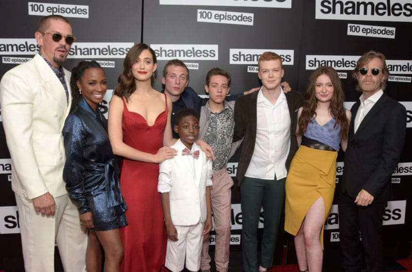 HOLLYWOOD, CA - JUNE 09: (L - R) Steve Howey, Shanola Hampton, Emmy Rossum, Jeremy Allen White, Christian Isaiah, Ethan Cutkowsky, Cameron Monaghan, Emma Kenney and William H. Macy attend the celebration of the 100th episode of Showtime's