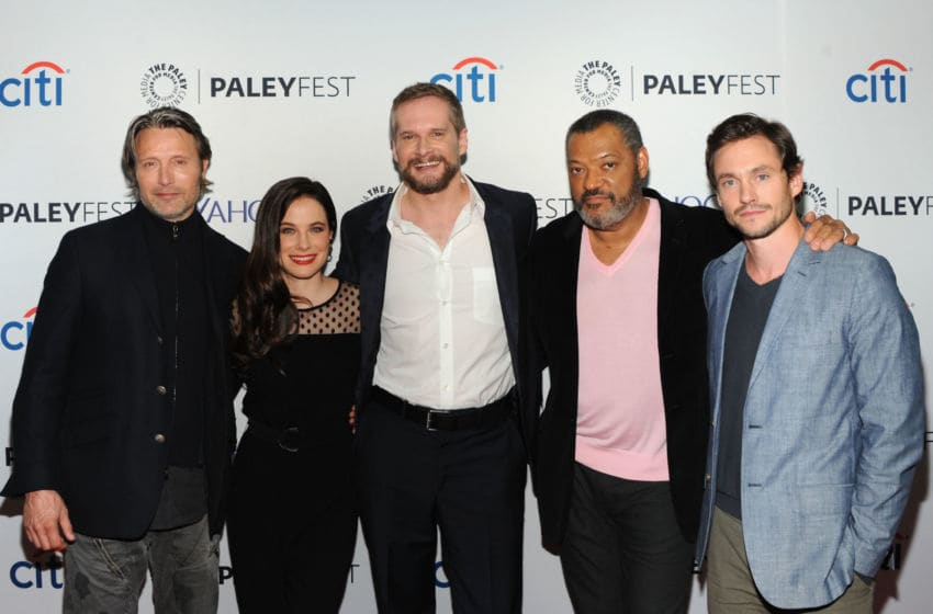 NEW YORK, NY - OCTOBER 18: (L-R) Mads Mikkelsen, Caroline Dhavernas, Bryan Fuller, Laurence Fishburne and Hugh Dancy attend the 2nd annual Paleyfest New York presents: 'Hannibal' at Paley Center For Media on October 18, 2014 in New York, New York. (Photo by Andrew Toth/Getty Images)