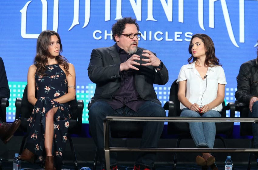 PASADENA, CA - JANUARY 06: (L-R) Actress Poppy Drayton, executive producer Jon Favreau and actress Ivana Baquero speak onstage during the MTV - The Shannara Chronicles panel as part of the Viacom portion of This is Cable 2016 Television Critics Association Press Tour at Langham Hotel on January 6, 2016 in Pasadena, California. (Photo by Frederick M. Brown/Getty Images)