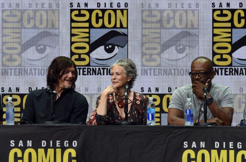 SAN DIEGO, CA - JULY 21: (L-R) Actors Norman Reedus, Melissa McBride and Lennie James speak onstage at Comic-Con International 2017 AMC's 'The Walking Dead' panel at San Diego Convention Center on July 21, 2017 in San Diego, California. (Photo by Kevin Winter/Getty Images)