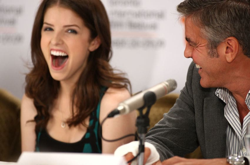 TORONTO, ON - SEPTEMBER 12: (L-R) Actors Anna Kendrick and George Clooney speak onstage at the 'Up In The Air' press conference held at the Sutton Place Hotel on September 12, 2009 in Toronto, Canada. (Photo by Alberto E. Rodriguez/Getty Images)