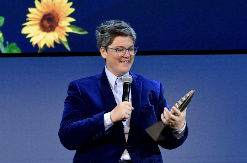 LOS ANGELES, CALIFORNIA - MAY 13: Hannah Gadsby accepts the GLAAD Special Recognition Award onstage during the FYSEE Hannah Gadsby conversation and reception at Raleigh Studios on May 13, 2019 in Los Angeles, California. (Photo by Emma McIntyre/Getty Images for Netflix)