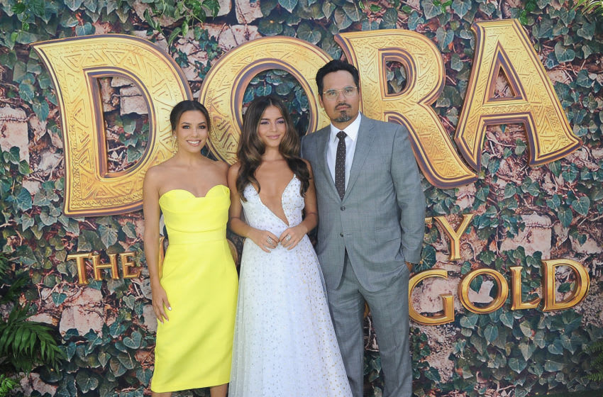 LOS ANGELES, CA - JULY 28: Eva Longoria, Isabela Moner and Michael Pena attend the LA Premiere Of Paramount Pictures'