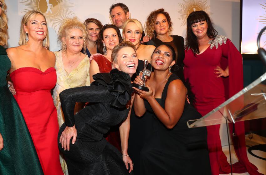 GOLD COAST, AUSTRALIA - JUNE 30: The cast of Wentworth pose with the Silver Logie Award for Most Outstanding Drama Series during the 61st Annual TV WEEK Logie Awards at The Star Gold Coast on June 30, 2019 on the Gold Coast, Australia. (Photo by Chris Hyde/Getty Images)