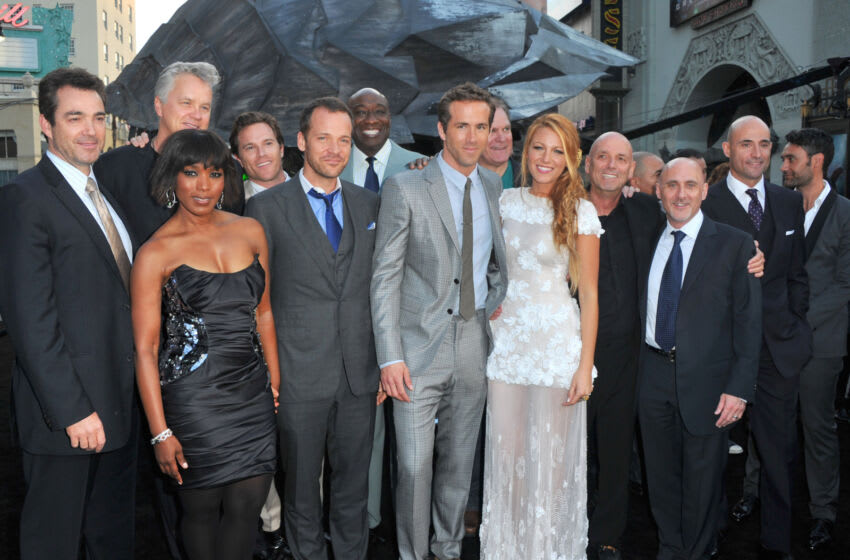 HOLLYWOOD, CA - JUNE 15: (L-R) Actors Jon Tenney, Tim Robbins, Angela Bassett, Peter Sarsgaard, Michael Clark Duncan, Ryan Reynolds, Jay O. Sanders, Blacke Lively, director Matthew Campbell, President of Warner Brothers Pictures Group Jeff Robinov and actors Mark Strong and Taika Waititi arrive at the premiere of Warner Bros. Pictures'