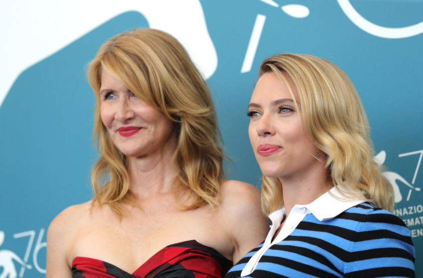 VENICE, ITALY - AUGUST 29: Laura Dern and Scarlett Johansson attend the