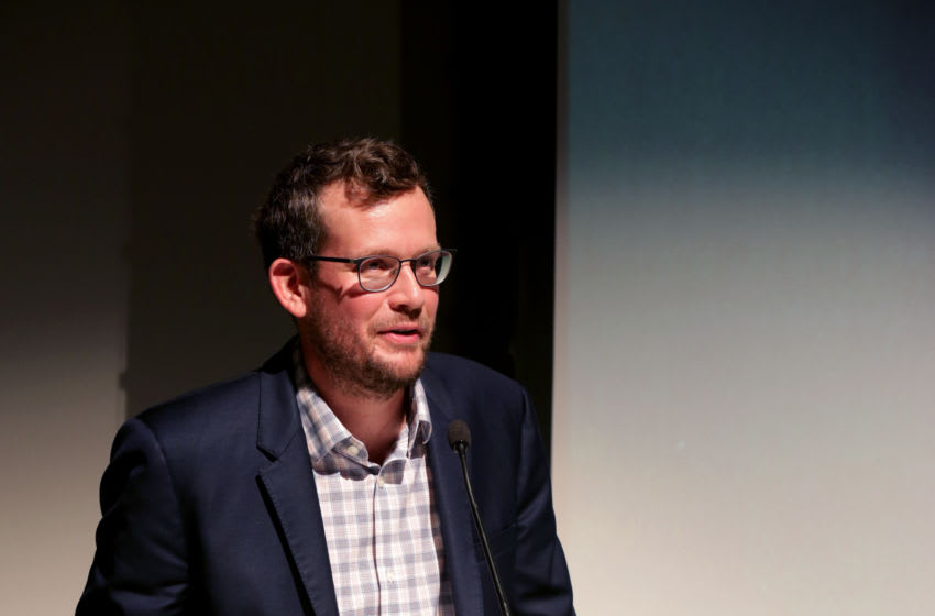 CHICAGO, ILLINOIS - SEPTEMBER 12: John Green, co-producer of Ours Poetica, reads a poem at the Poetry Foundation and Complexly launch of Ours Poetica on September 12, 2019 in Chicago, Illinois. (Photo by Peter Thompson/Getty Images for The Poetry Foundation )