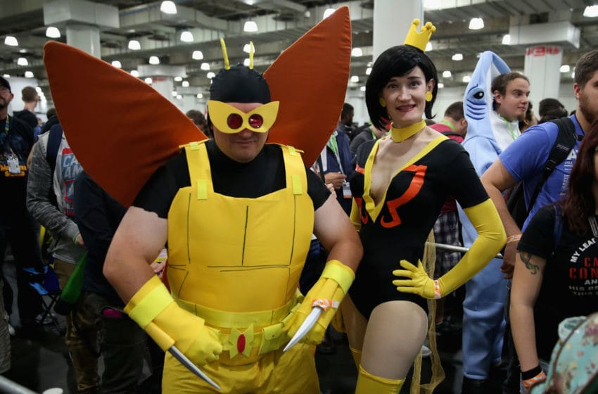 NEW YORK, NY - OCTOBER 10: Fans pose at the Adult Swim Signing: Venture Bros. Adult Swim at New York Comic Con Jacob Javitz Center on October 10, 2015 in New York, United States. 25749_002 002 (Photo by Cindy Ord/Getty Images For Turner)