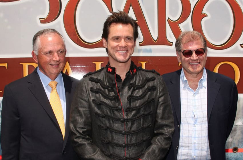 LOS ANGELES, CA - MAY 21: Robert Zemeckis and actor Jim Carrey attend the launch of